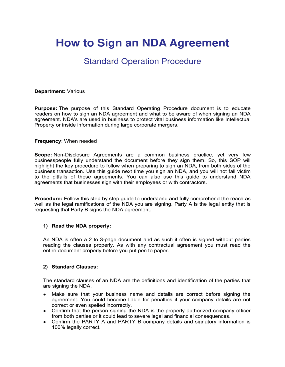 Business-in-a-Box's How To Sign An Nda Agreement Template