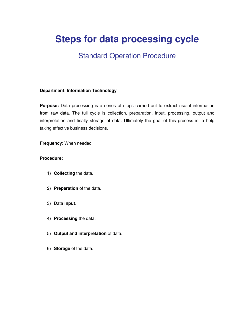 Business-in-a-Box's How to Steps for Data Processing Template