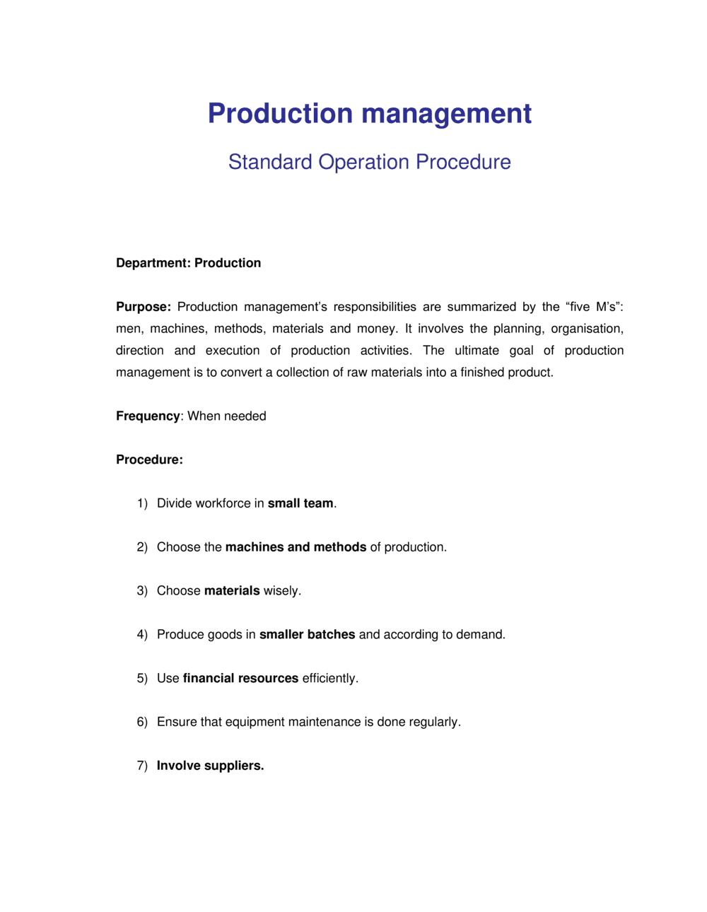 Business-in-a-Box's How to Steps for Production Management