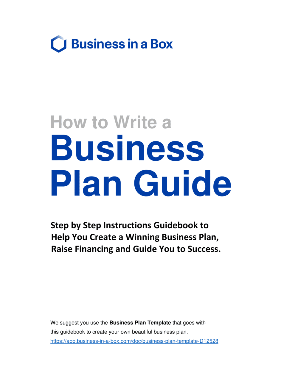 Business-in-a-Box's How to Write a Business Plan Guidebook