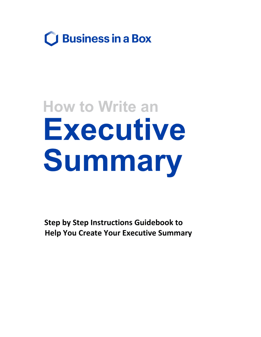 Business-in-a-Box's How to write an Executive Summary Template
