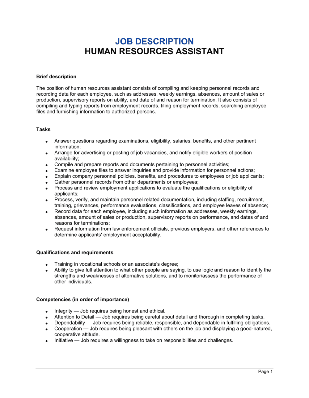 Human Resources Assistant Job Description Template | by Business-in-a-Box™