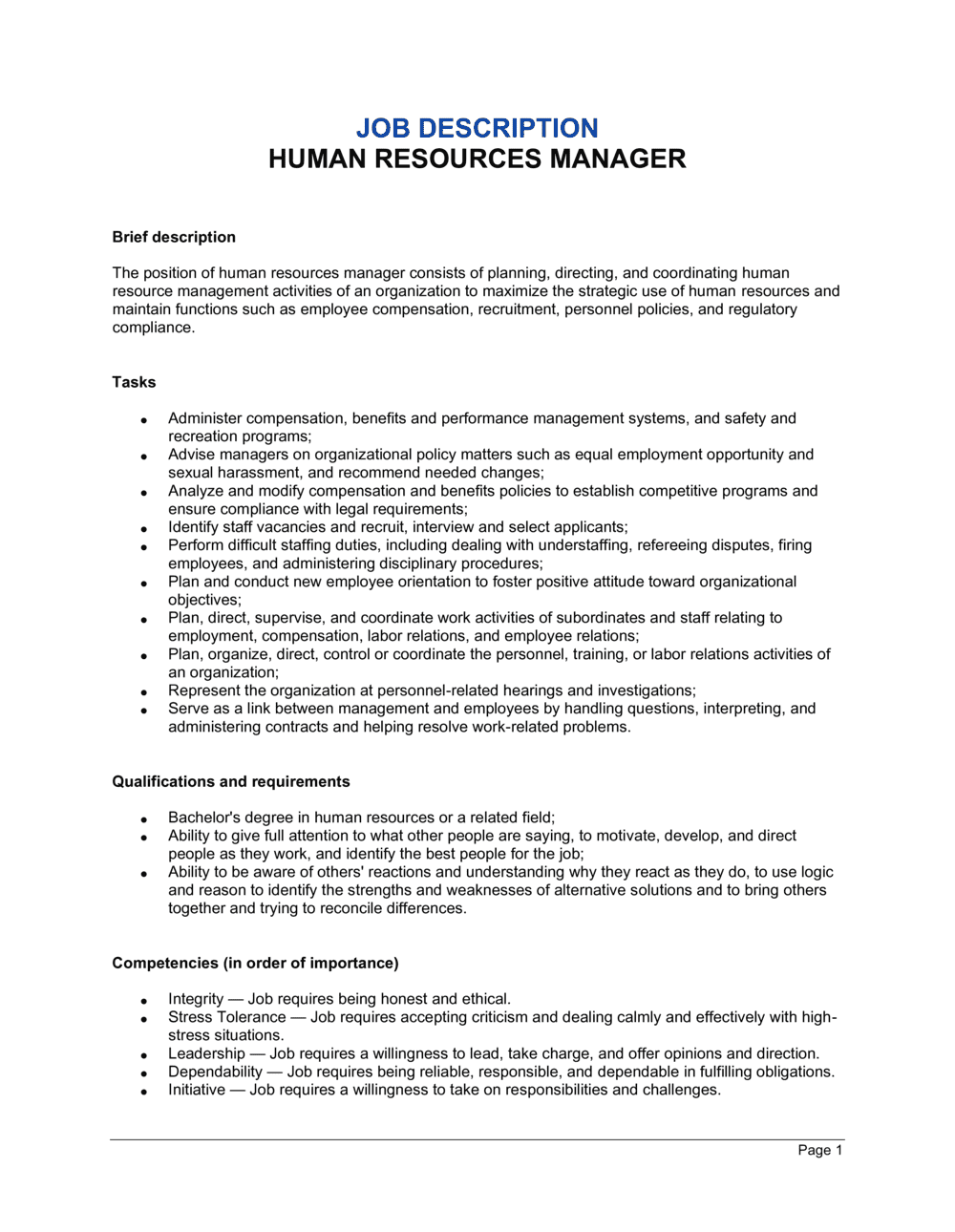 Human Resources Manager Job Description Template | by Business-in-a-Box™