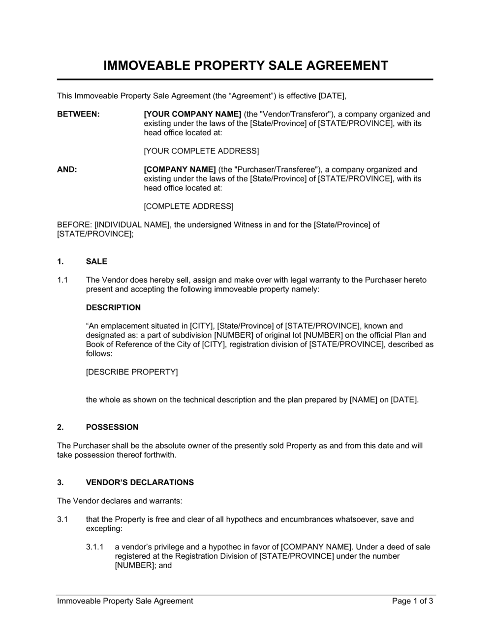 Business-in-a-Box's Immoveable Property Sale Agreement Template