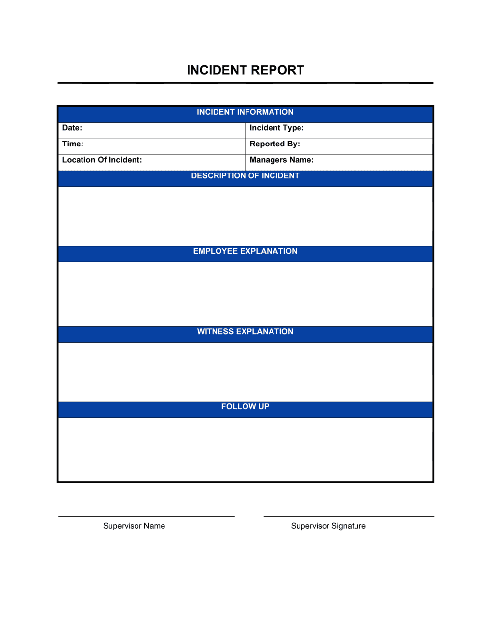 Incident Report Template By Business In A Box