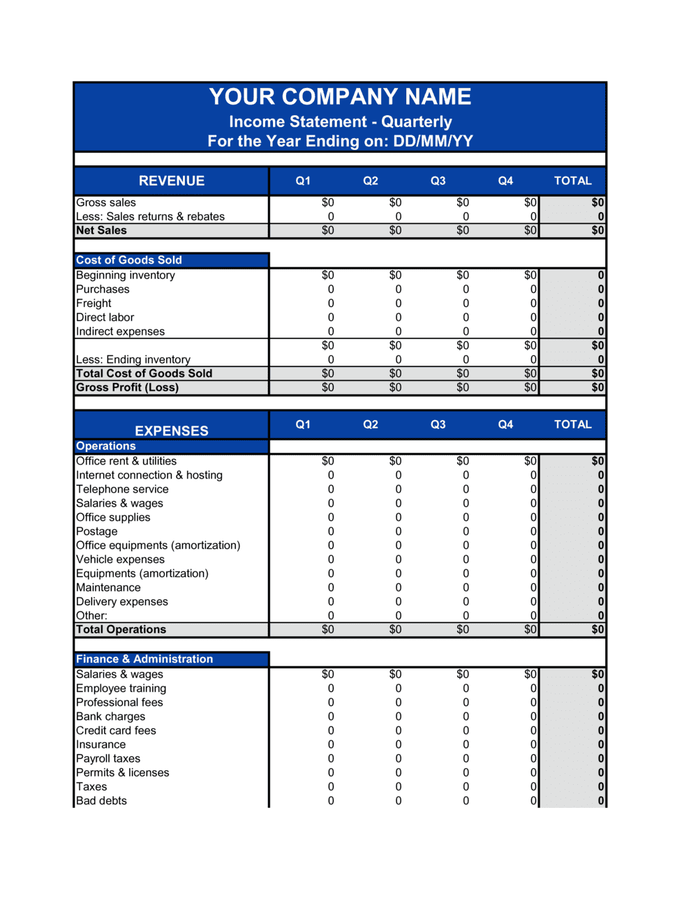 Business-in-a-Box's Income Statement_Quarterly Template