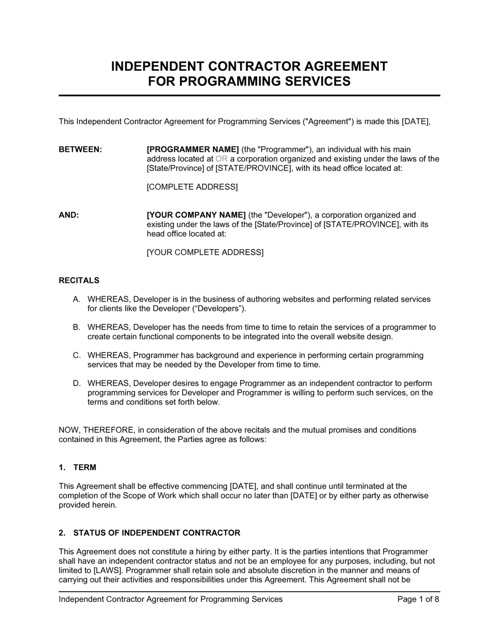 Business-in-a-Box's Independent Contractor Agreement For Programming Services Template
