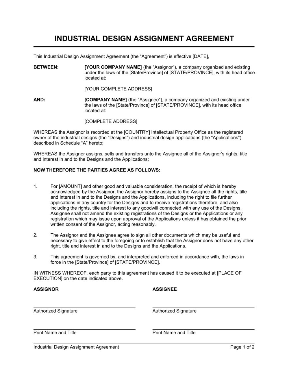 Business-in-a-Box's Industrial Design Assignment Agreement Template