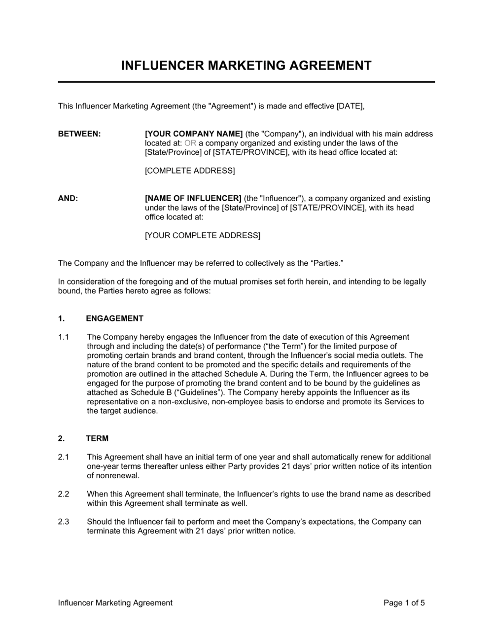 Business-in-a-Box's Influencer Marketing Agreement Template