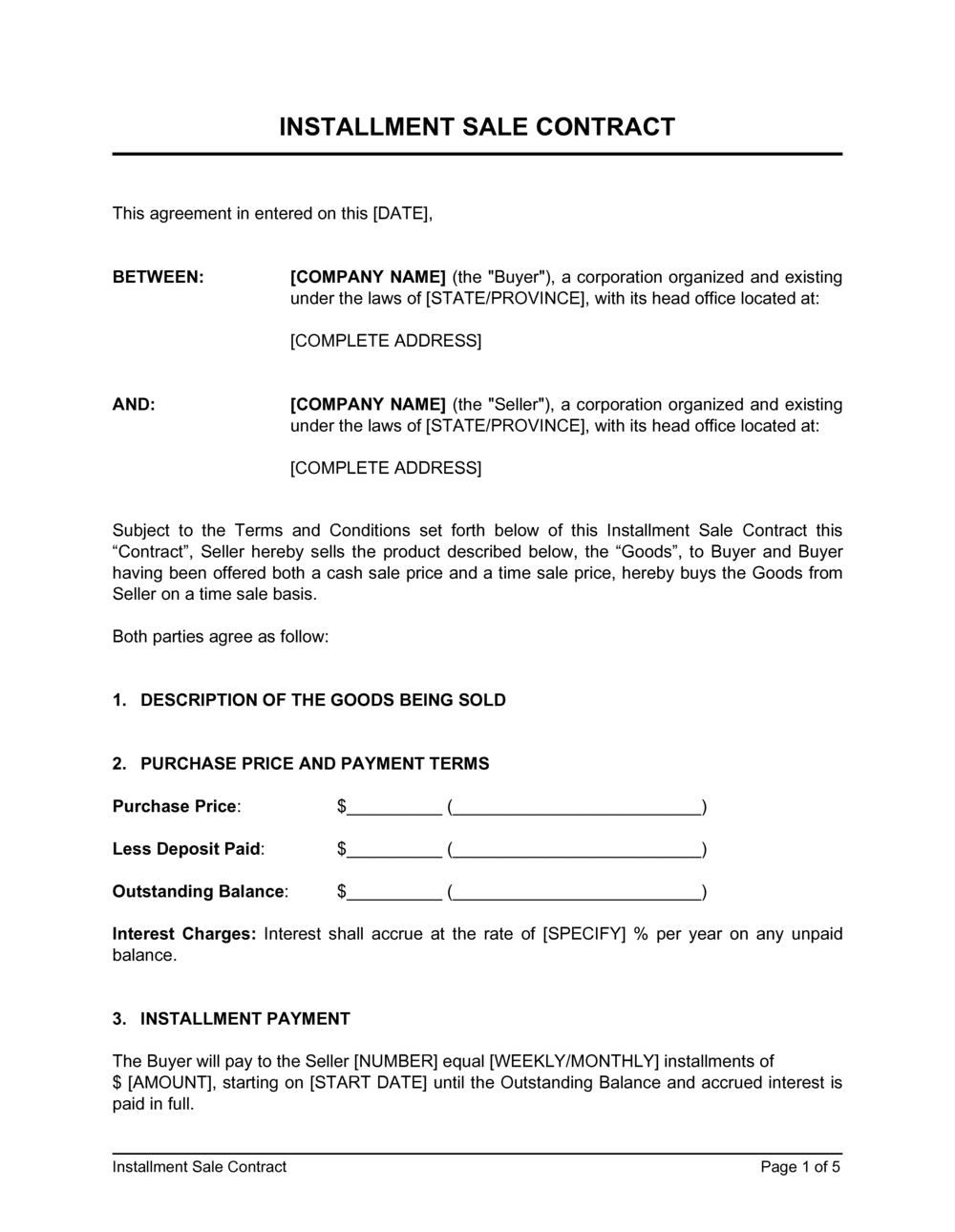 Business-in-a-Box's Installment Sale Contract Template