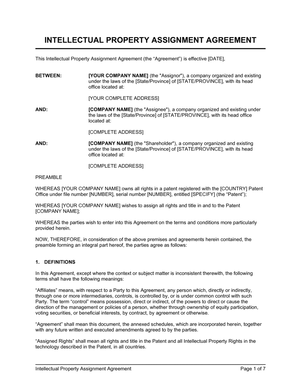 Business-in-a-Box's Intellectual Property Assignment Template