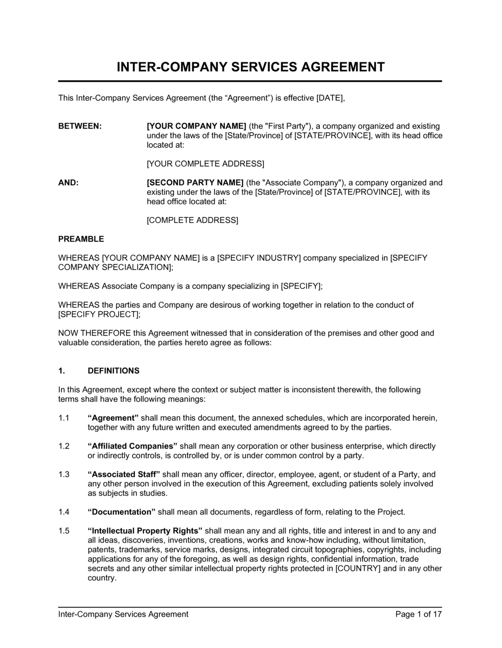 Business-in-a-Box's Inter-Company Services Agreement Template