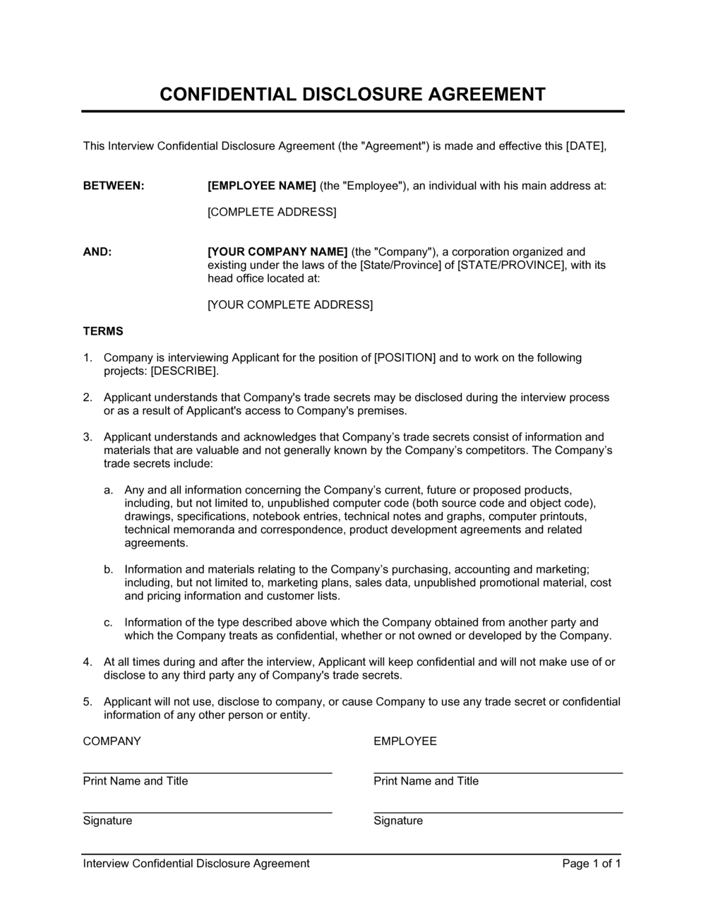 Business-in-a-Box's Interview Confidential Disclosure Agreement Template