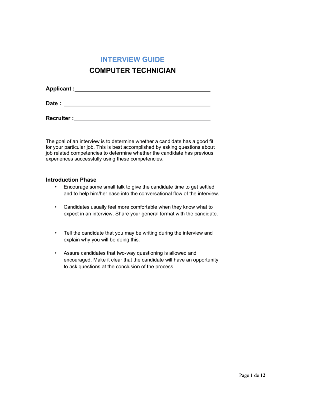 Business-in-a-Box's Interview Guide Computer Technician Template