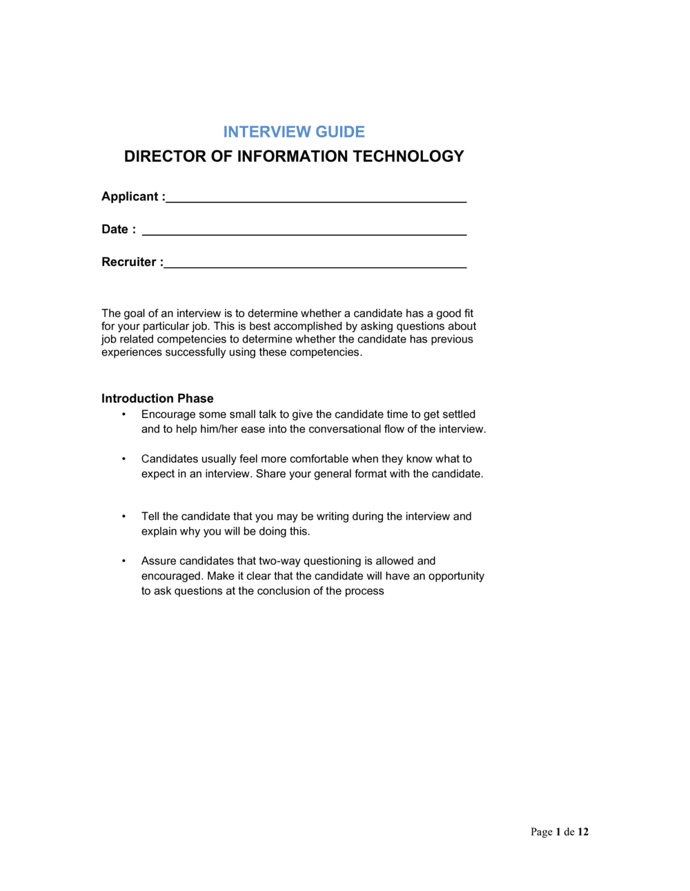 Business-in-a-Box's Interview Guide Director of Information Technology Template