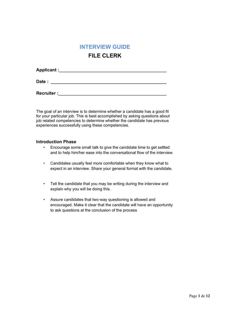 Business-in-a-Box's Interview Guide File Clerk Template