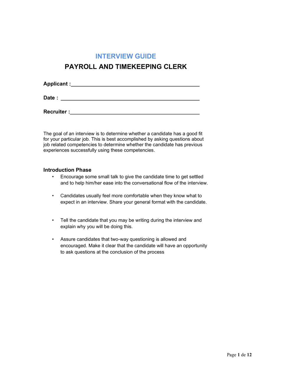 Business-in-a-Box's Interview Guide Payroll and Timekeeping Clerk Template