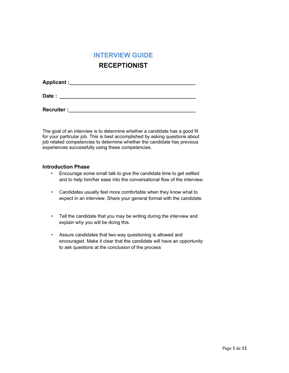 Business-in-a-Box's Interview Guide Receptionist Template