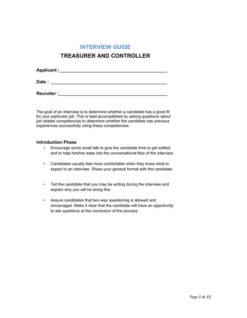 Business-in-a-Box's Interview Guide Treasurer and Controller Template