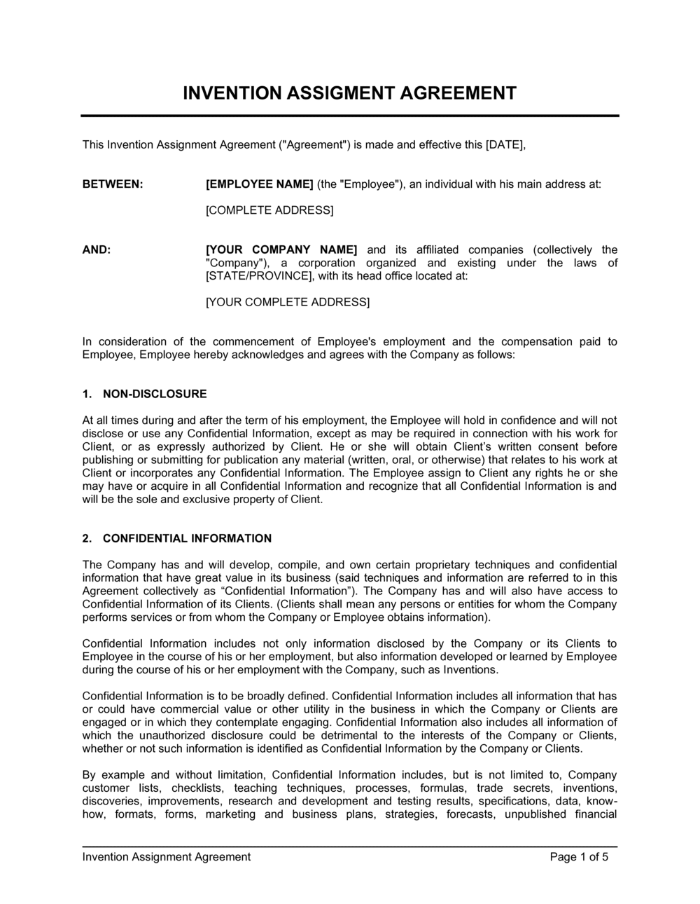 Business-in-a-Box's Invention Assignment Agreement Template