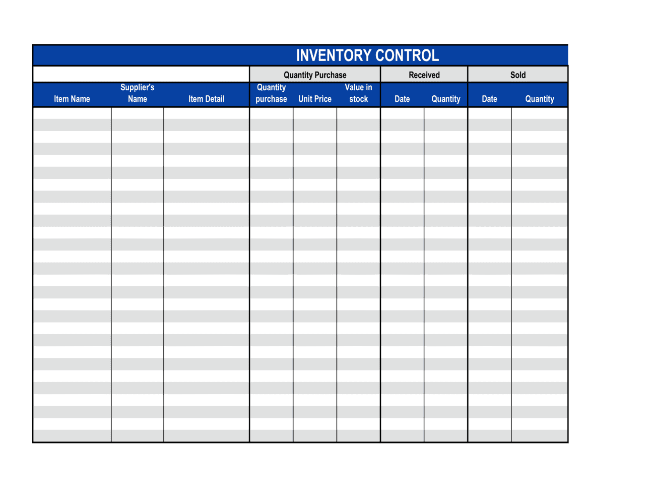Business-in-a-Box's Inventory Control Sheet Template