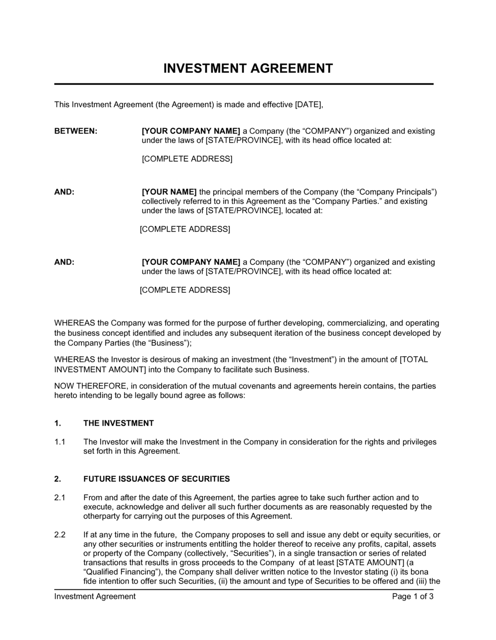 Business-in-a-Box's Investment Agreement Template
