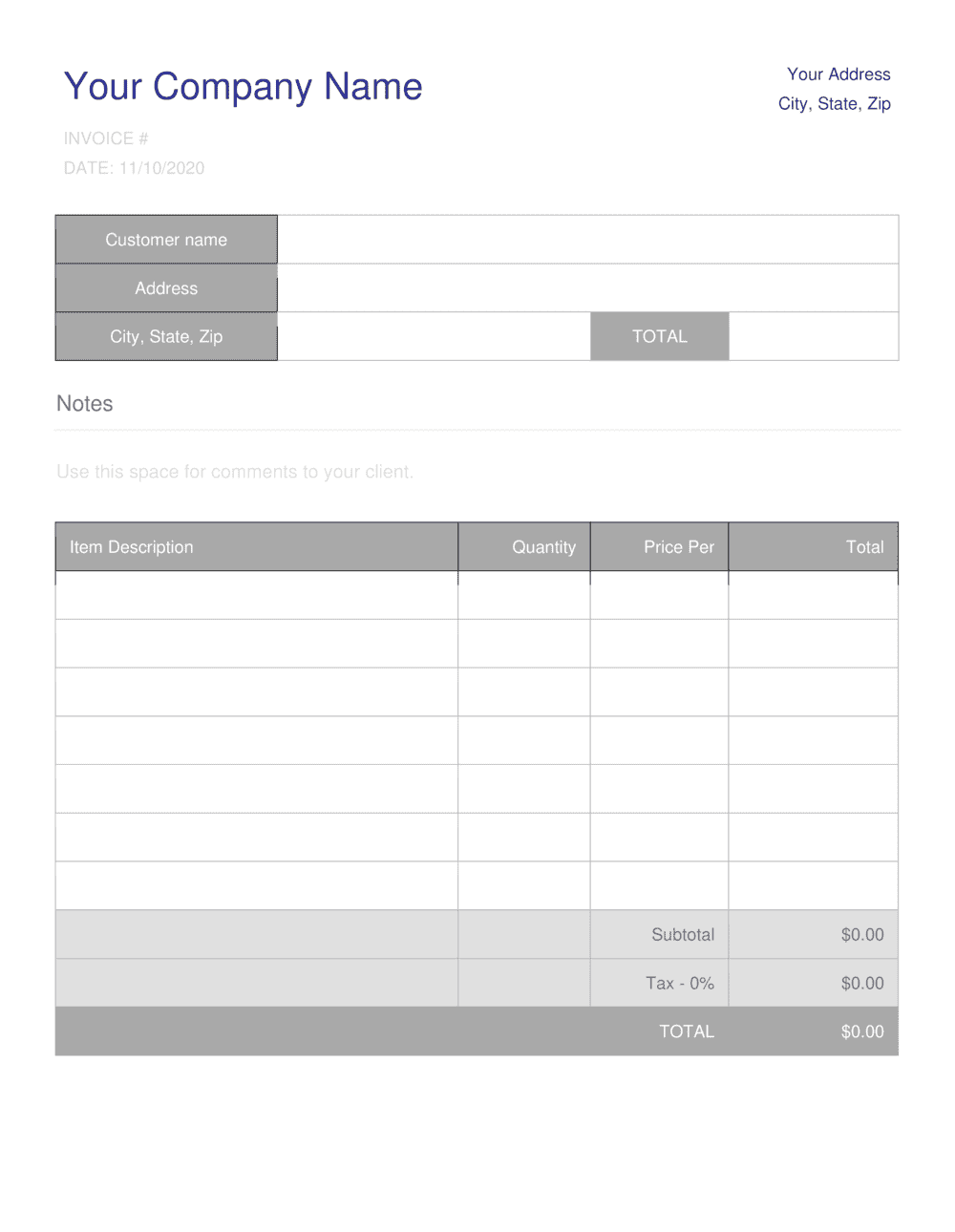 Business-in-a-Box's Invoice Template