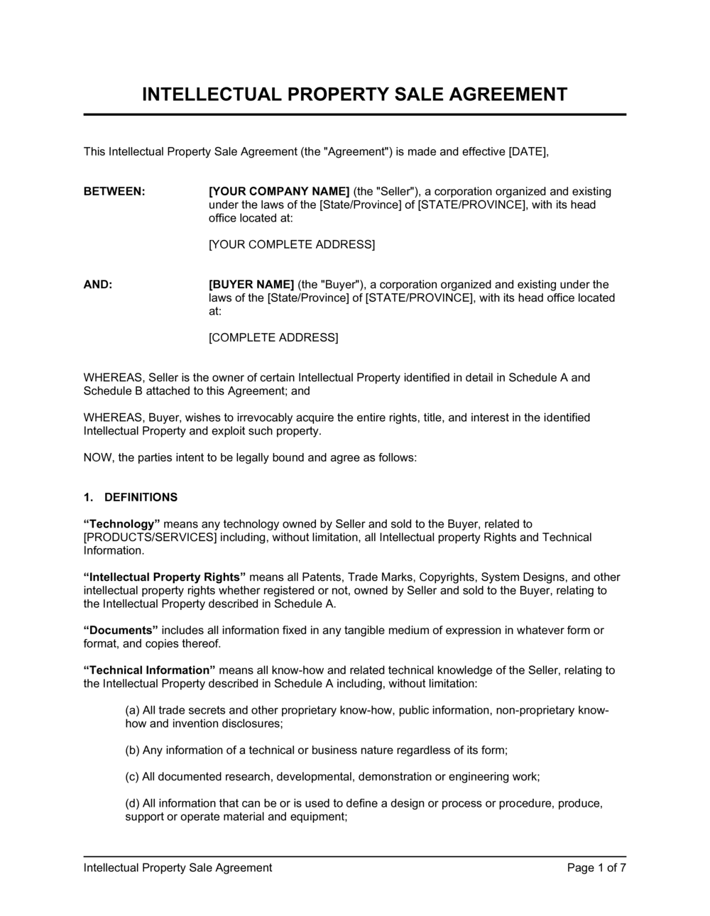 Business-in-a-Box's IP Sale Agreement Template