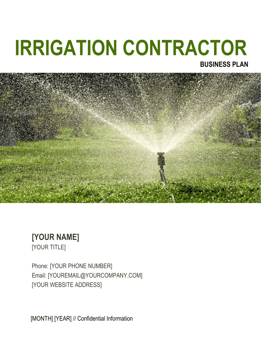 Business-in-a-Box's Irrigation Contractor Business Plan Template