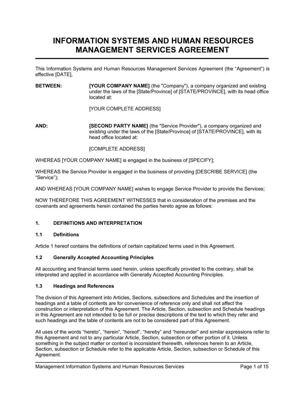 Business-in-a-Box's IT Systems & HR Management Services Agreement Template