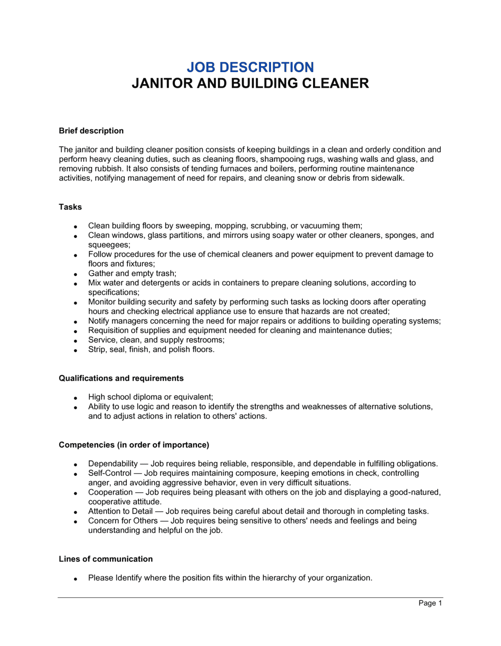 Business-in-a-Box's Janitor and Building Cleaner Job Description Template