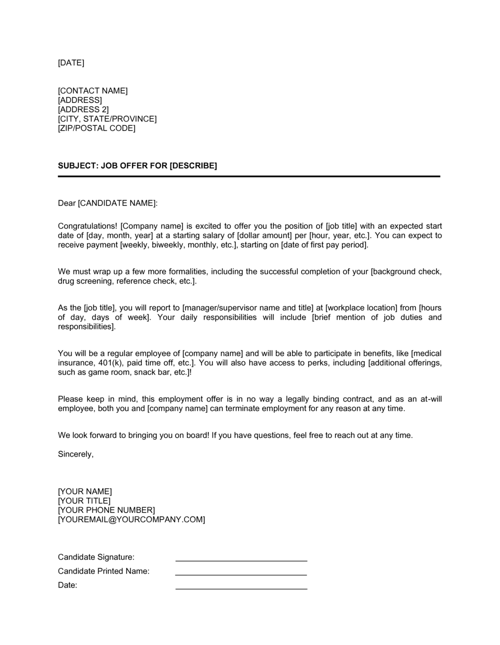 Business-in-a-Box's Job Offer Letter Long Template