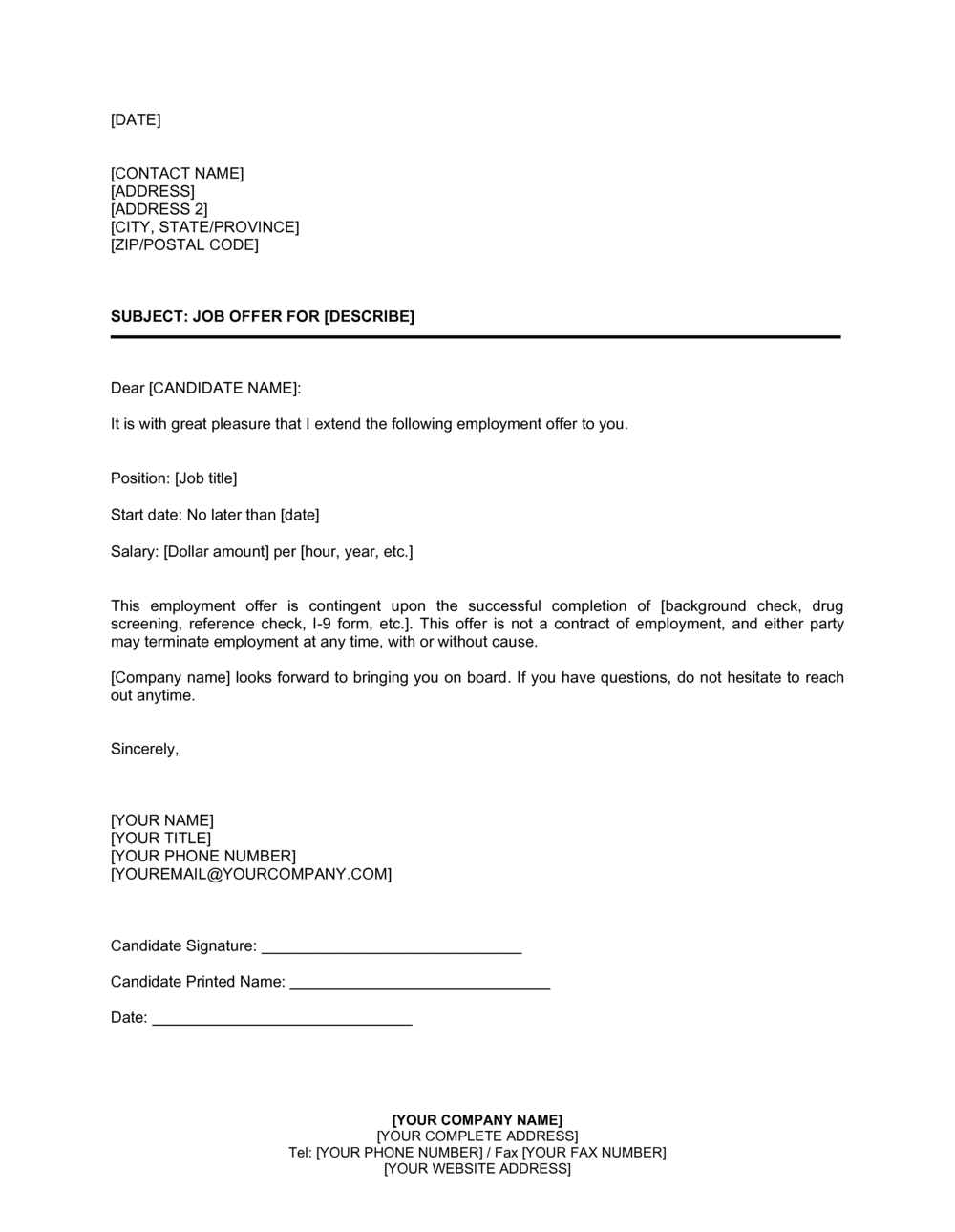 Business-in-a-Box's Job Offer Letter Simple Template