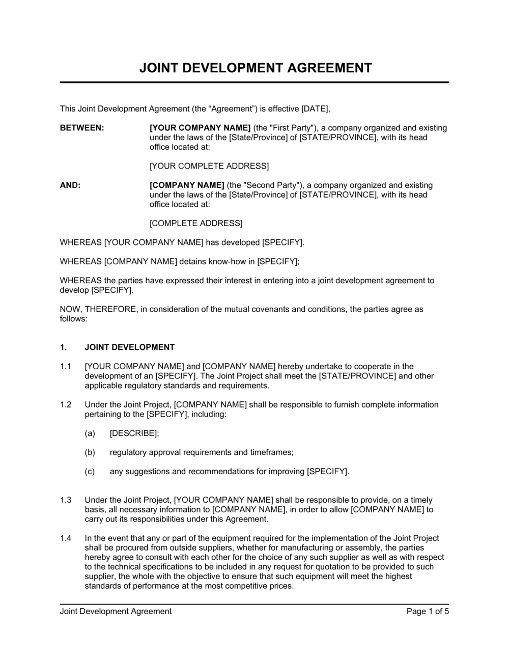 Business-in-a-Box's Joint Development Agreement Standard Template