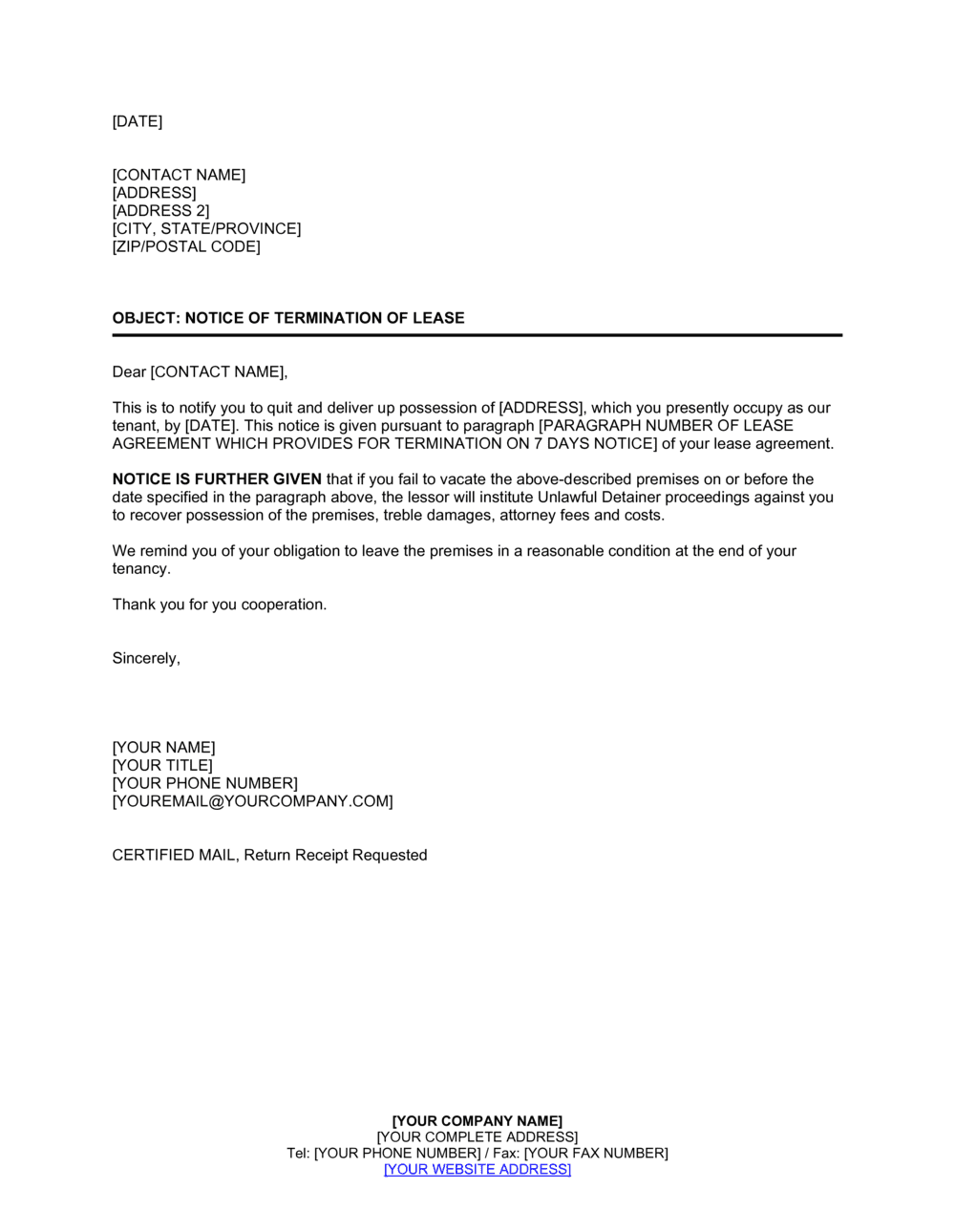 Sample Letter Of Termination Of Tenancy Agreement By Landlord from templates.business-in-a-box.com