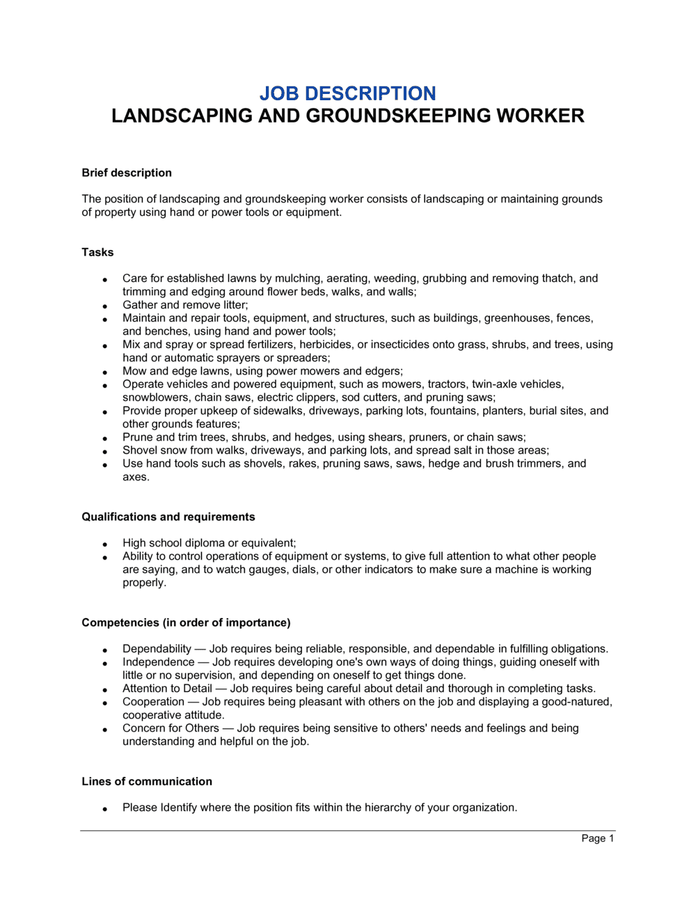 Business-in-a-Box's Landscaping and Groundskeeping Worker Job Description Template