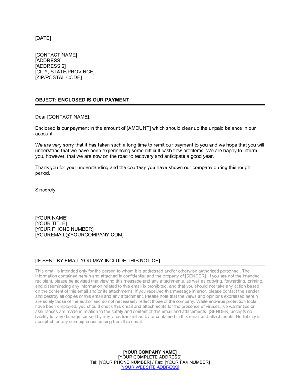 Business-in-a-Box's Late Payment Letter Template