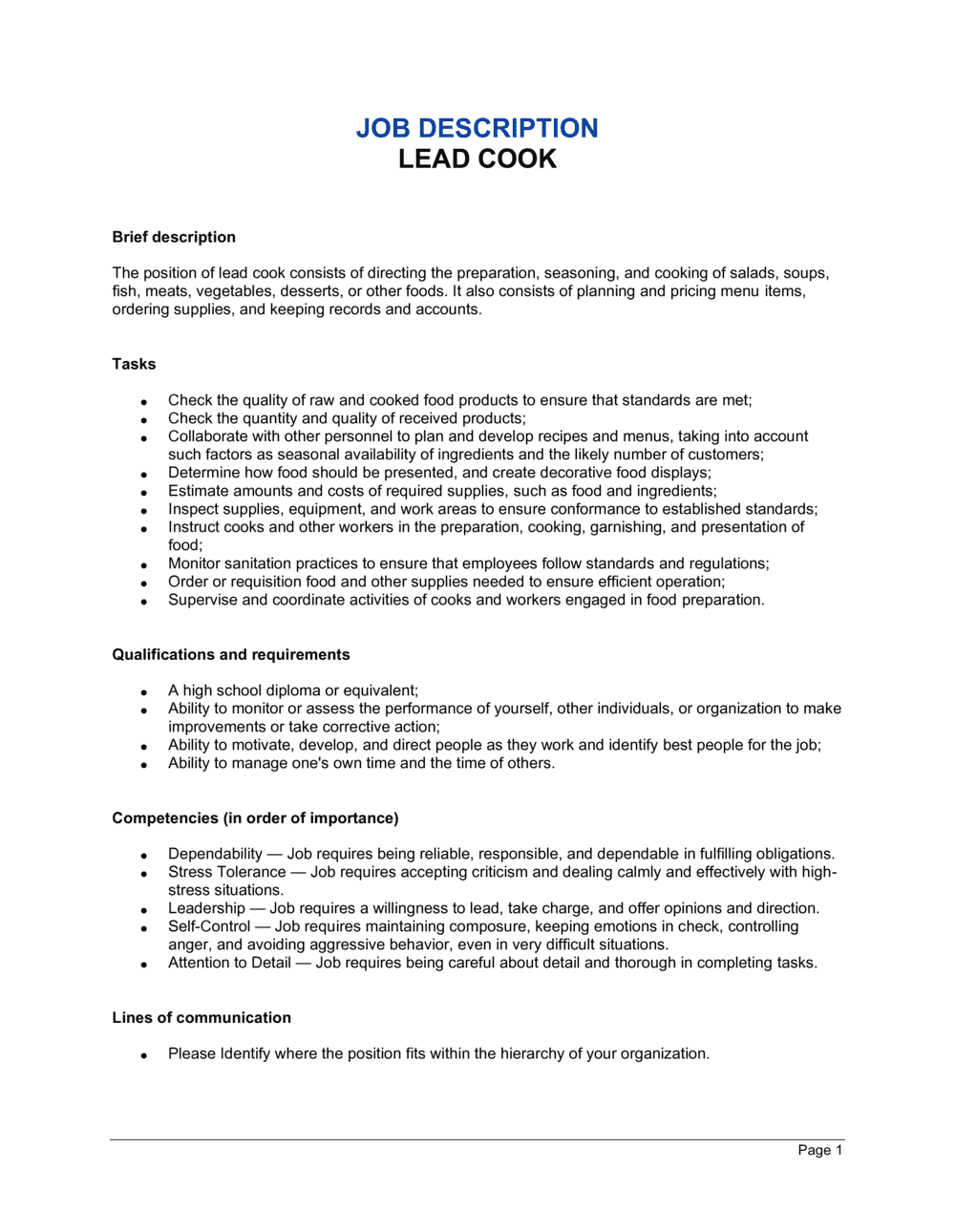 Business-in-a-Box's Lead Cook Job Description Template