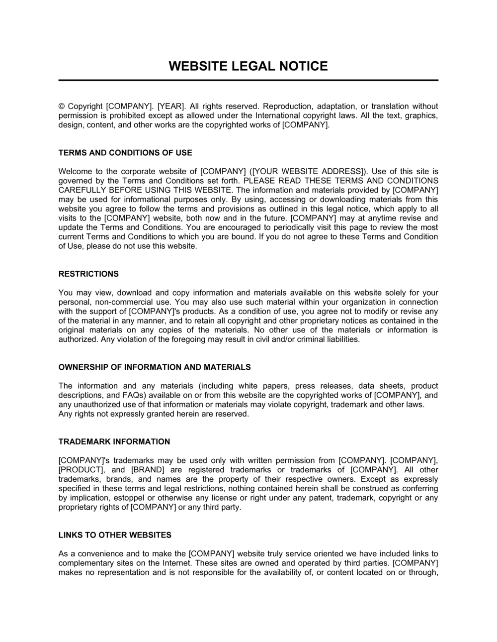 Business-in-a-Box's Legal Notice Template