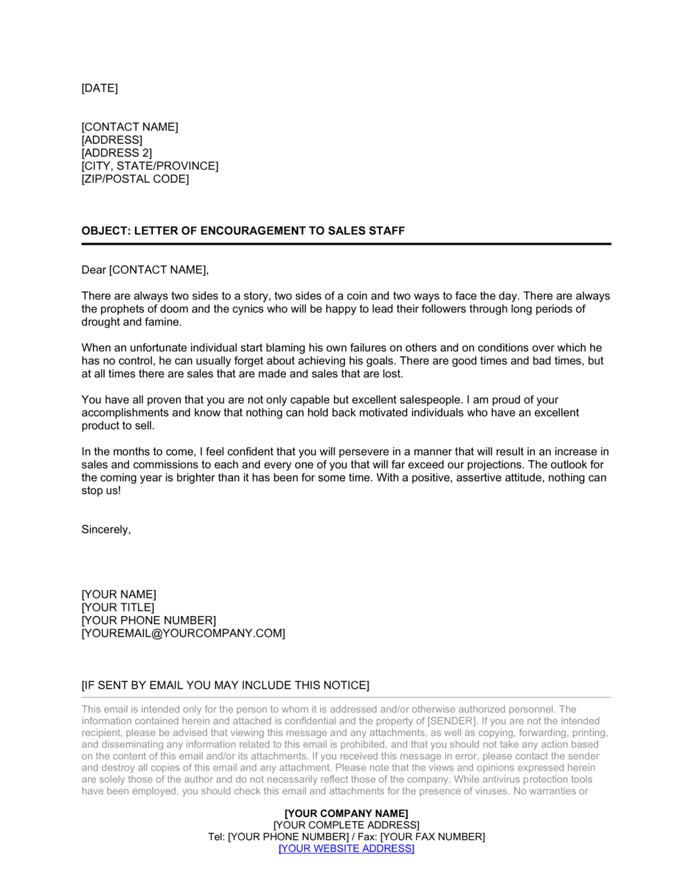 Business-in-a-Box's Letter of Encouragement to Sales Staff Template