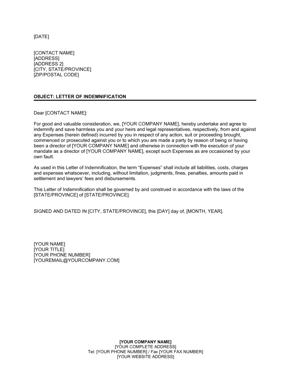 Letter of Indemnification to Former Director Template   by ...