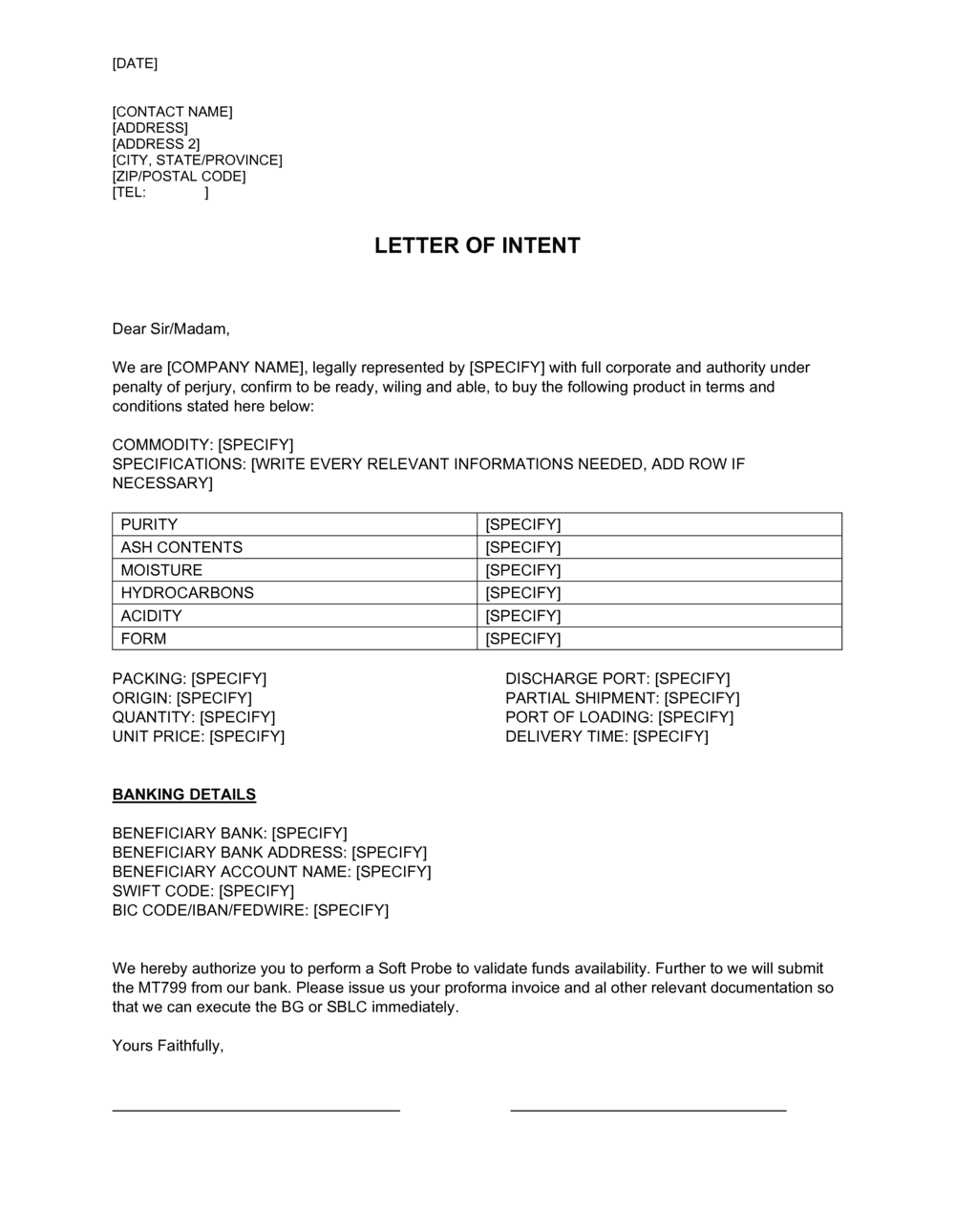 Business-in-a-Box's Letter Of Intent Commodity Template
