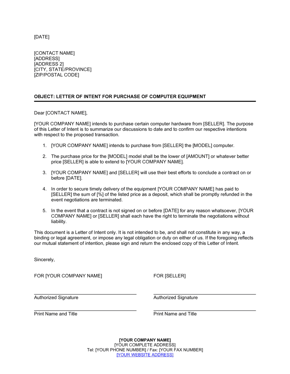 Letter Of Intent For Purchase Of Computer Equipment Template By Business In A Box
