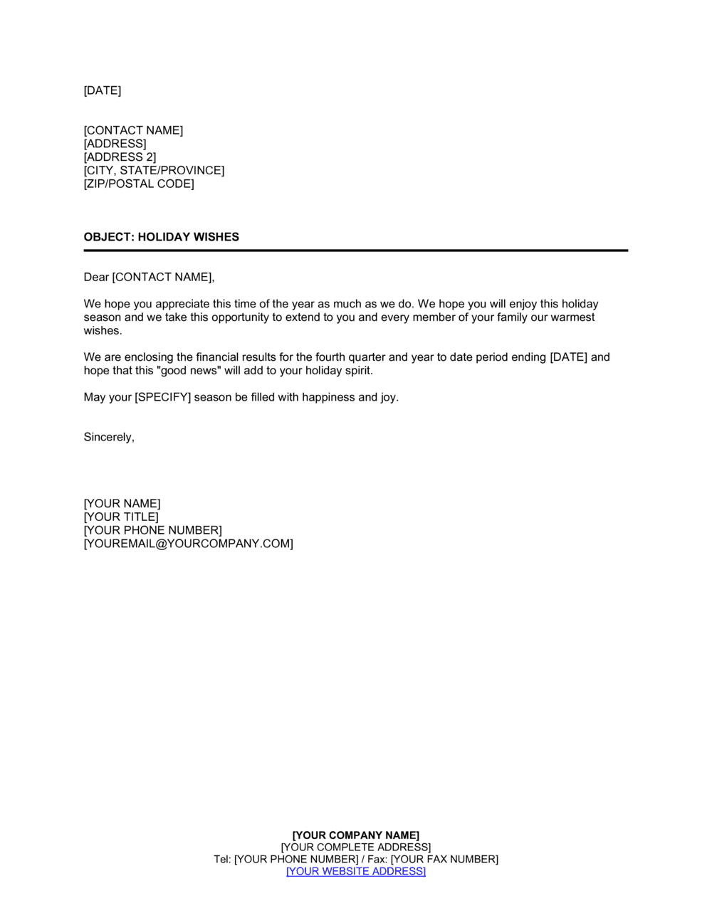 Business-in-a-Box's Letter to Stockholders Holiday Template