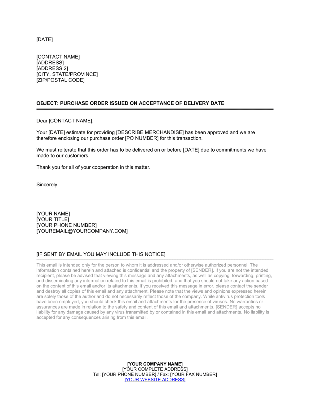 Business-in-a-Box's Letter Purchase Order Issued on Acceptance of Delivery Date Template