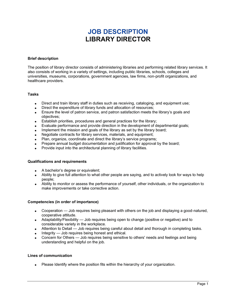 Business-in-a-Box's Library Director Job Description Template