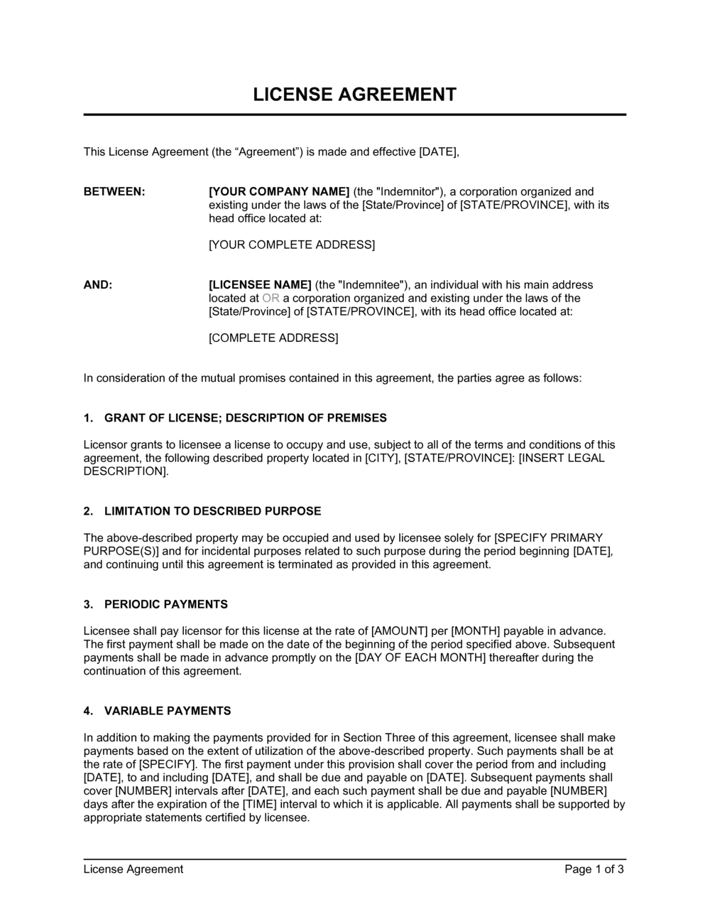 Business-in-a-Box's License Agreement Template