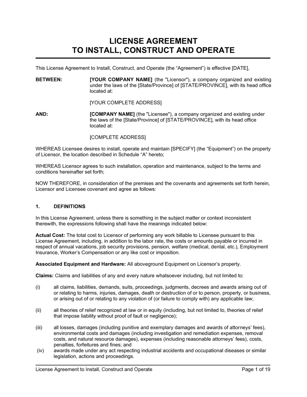 Business-in-a-Box's License Agreement to Install, Construct and Operate Template