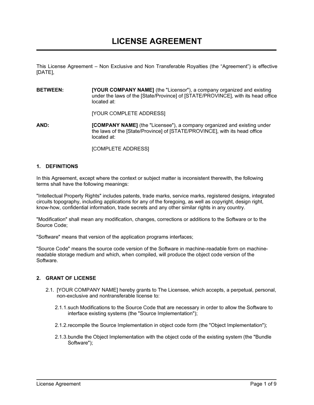 Business-in-a-Box's License Agreement Non Exclusive and Non Transferable_Royalties Template