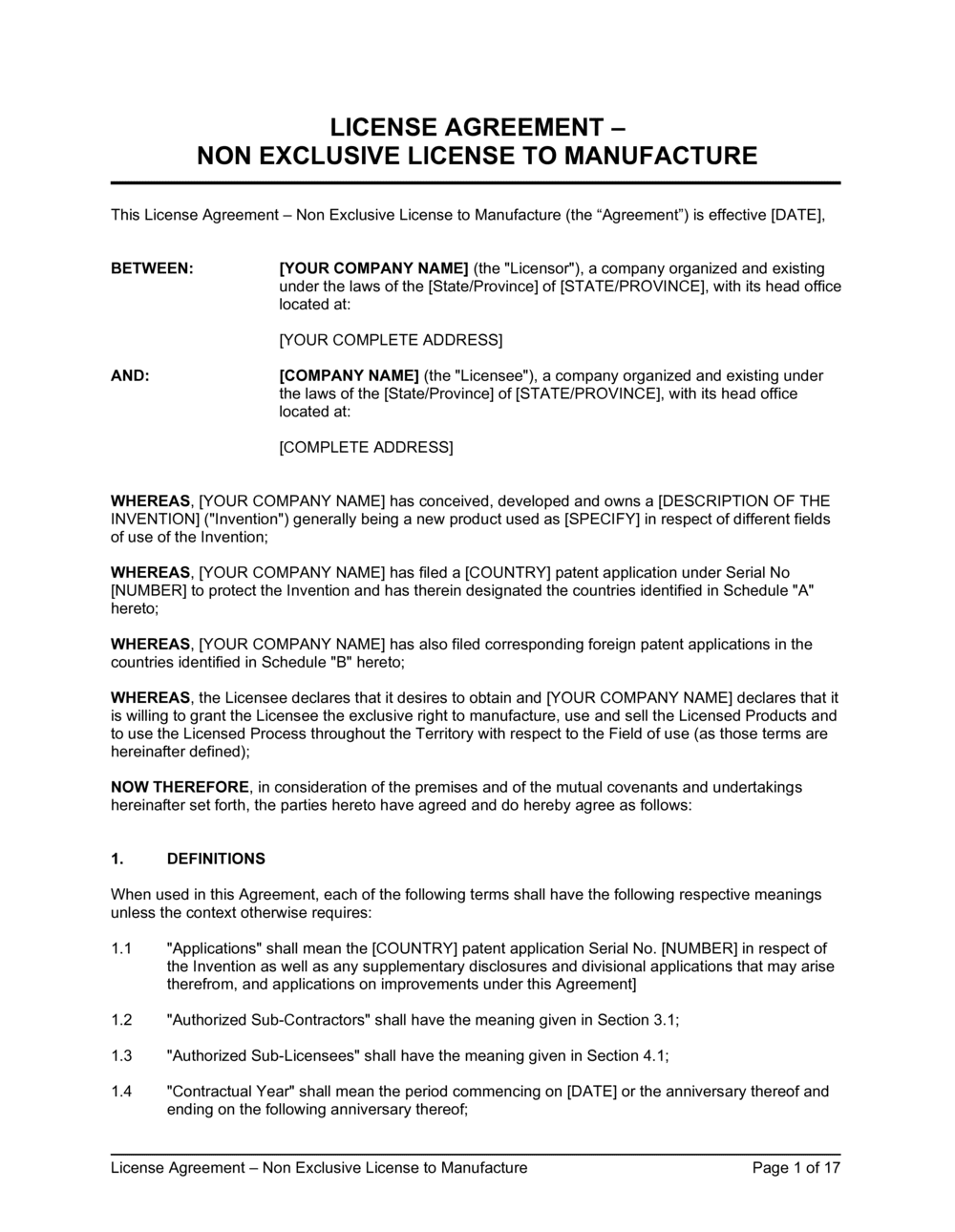 Business-in-a-Box's License Agreement Non-Exclusive License to Manufacture Template